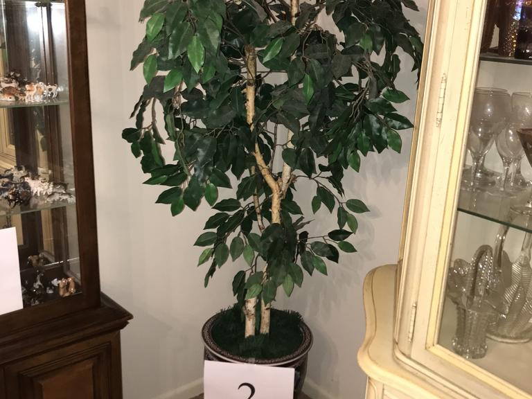 +/-  6 Ft. Artificial Tree in Beautiful Oriental Pot on Wood Base