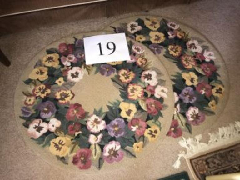 Pair of Round +/- 3 Ft. Throw Rugs