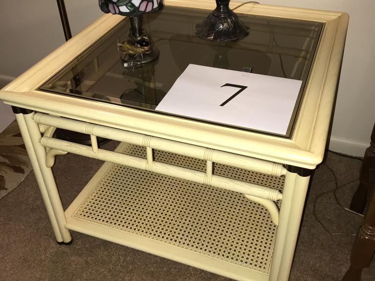 End Table with Glass Top & Rattan Shelf *Matches Item 12