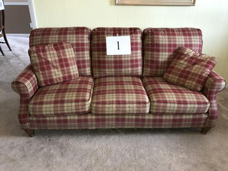 CRAFTMASTER 3 CUSHION PLAID SOFA