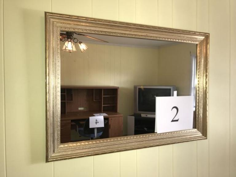 LARGE GILT FRAMED RECTANGULAR WALL MIRROR